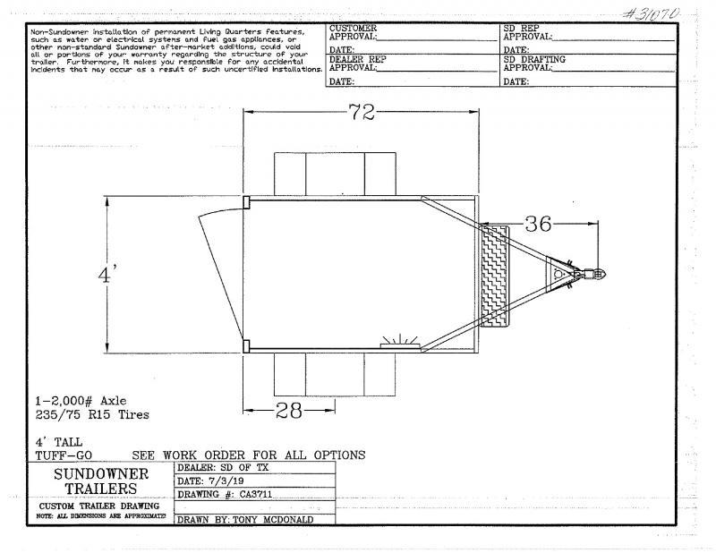 2020 4X6 SUNDOWNER BUMPER PULL ENCLOSED CARGO TRAILER
