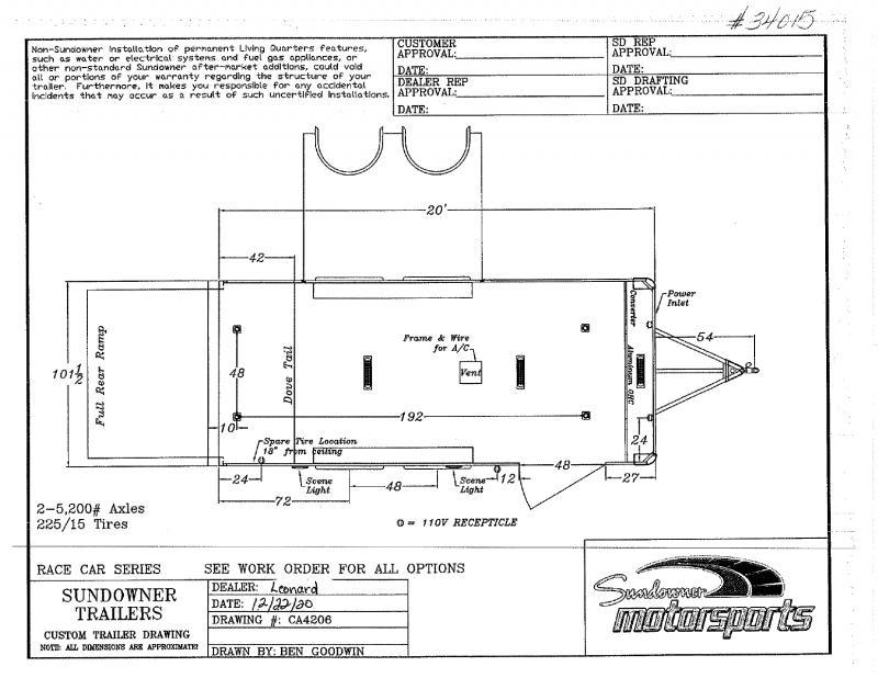 2021  20'  SUNDOWNER BUMPER PULL ENCLOSED TRAILER
