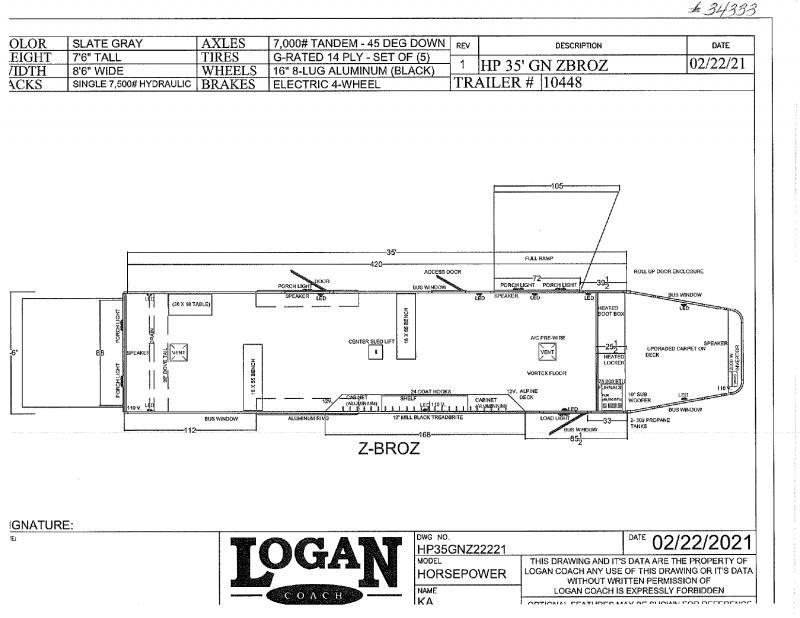 2021 LOGAN COACH 8.5'X35' GOOSE NECK SNOWMOBILE ATV TRAILER.