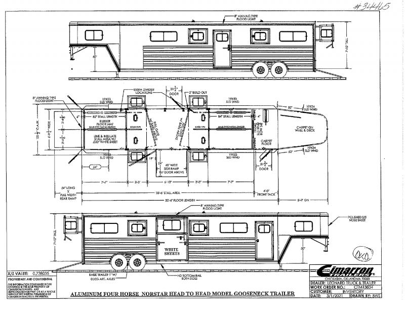 2022  4  HORSE  CIMARRON GOOSENECK W/DRESS HORSE TRAILER