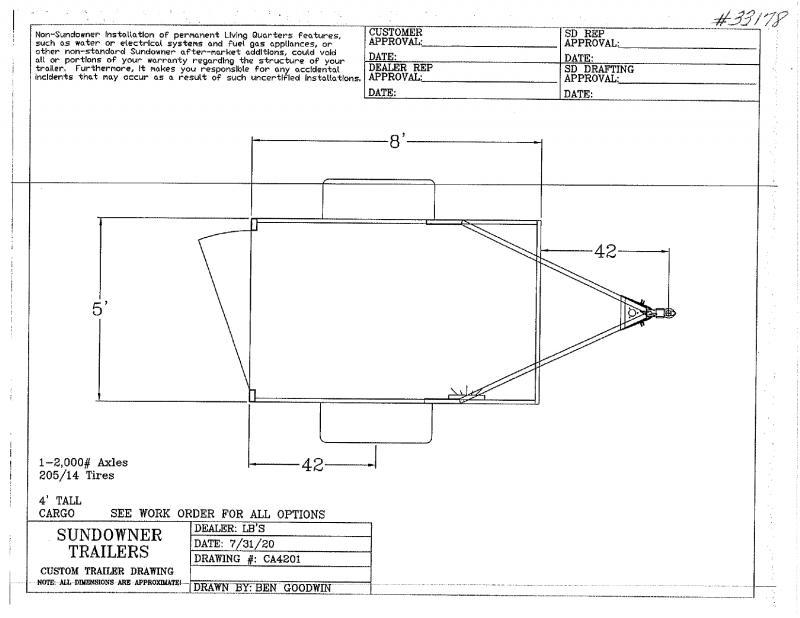 2021  5x8  SUNDOWNER BUMPER PULL ENCLOSED CARGO TRAILER