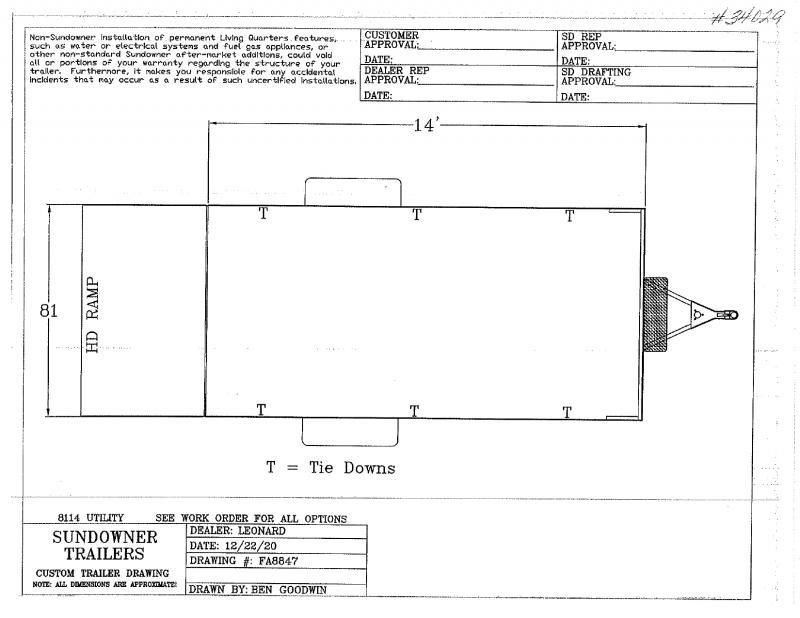 2022  14'  SUNDOWNER BUMPER PULL UTILITY TRAILER