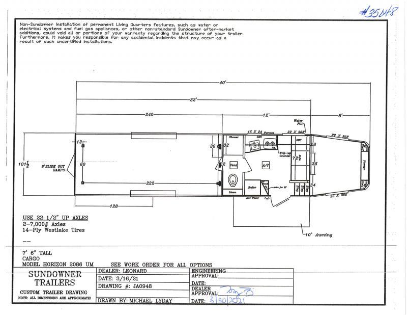 2021  32'  SUNDOWNER GARAGE MODEL TOY HAULER