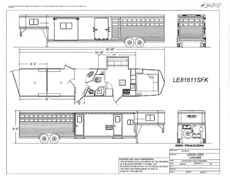 2022   34'   SMC GOOSENECK WITH LIVING QUARTERS STOCK TRAILER