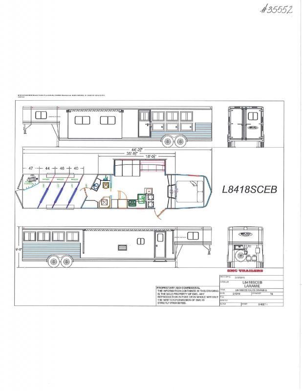 2022  4 HORSE  SMC GOOSENECK W/LIVING QUARTERS  HORSE TRAILER