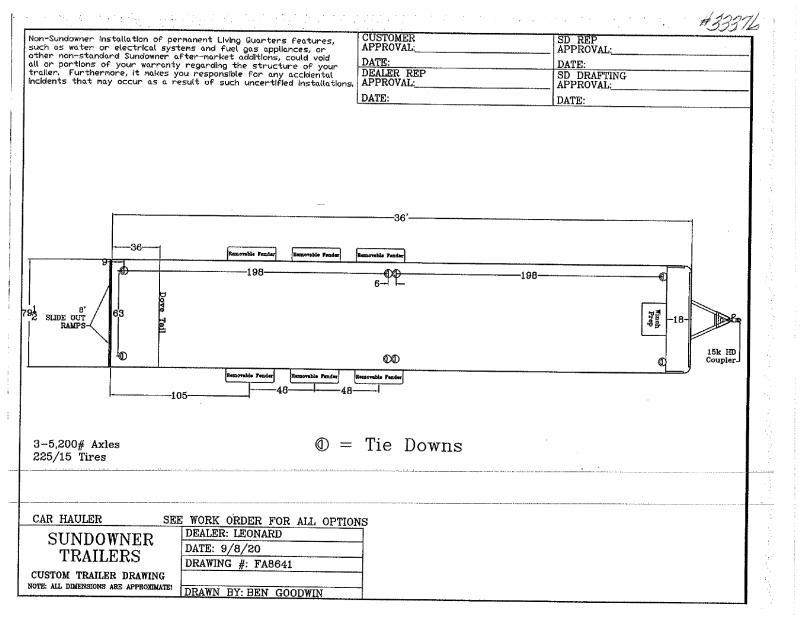 2021  36'  SUNDOWNER BUMPER PULL CAR HAULER TRAILER