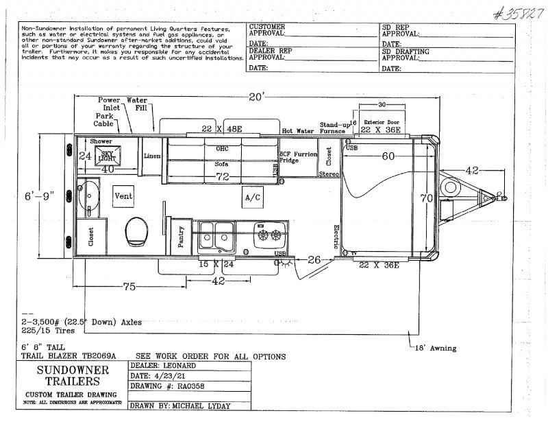 2021  20'  SUNDOWNER BUMPER PULL TRAVEL TRAILER