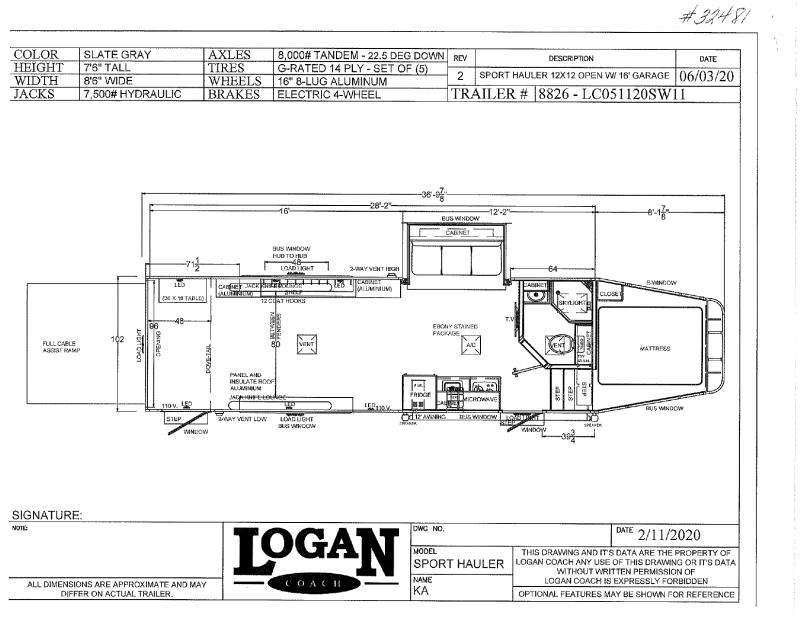 2021 LOGAN COACH 8.5'X36' GOOSENECK OPEN CONCEPT LIVING QUARTERS TOY HAULER