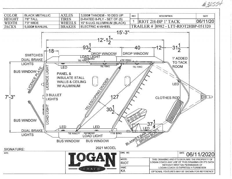 2020 2 HORSE LOGAN COACH BUMPER PULL HORSE TRAILER