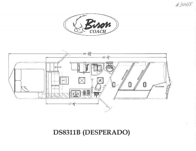 2022  3 HORSE  BISON DESPERADO GOOSENECK WITH LIVING QUARTERS HORSE TRAILER