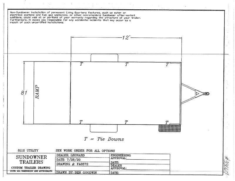 2021 12'  SUNDOWNER BUMPER PULL UTILITY TRAILER