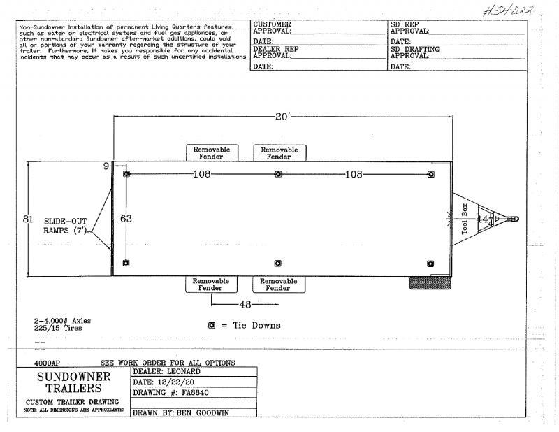 2022  20'  SUNDOWNER BUMPER PULL UTILITY TRAILER