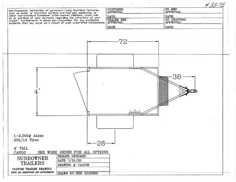 2021  4X6  SUNDOWNER BUMPER PULL ENCLOSED CARGO TRAILER