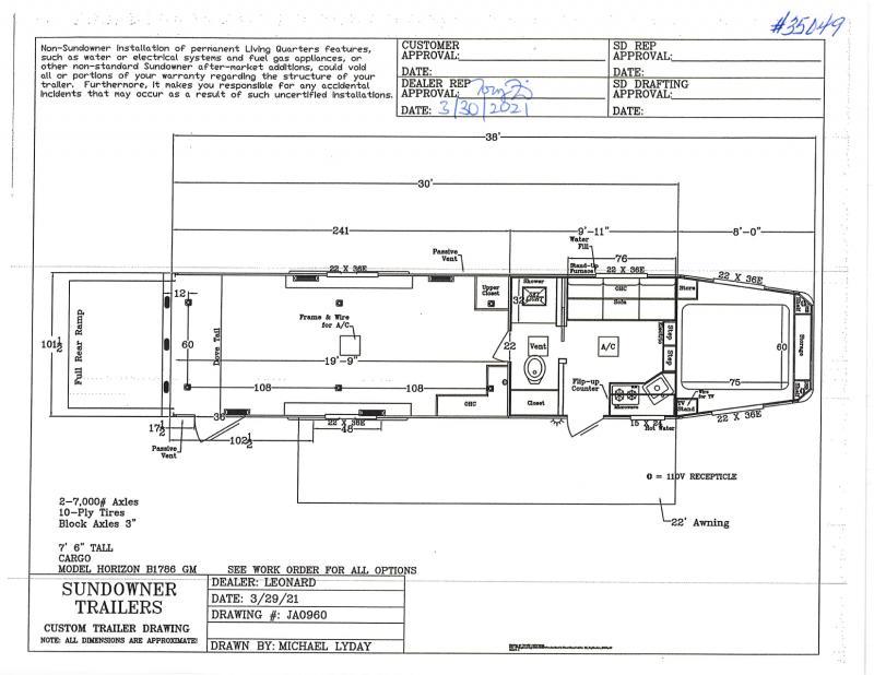 2021 SUNDOWNER 8.5X38 GOOSENECK LIVING QUARTERS TOY HAULER WITH 20' GARAGE