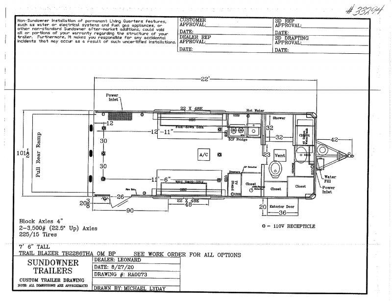 2021  22'  SUNDOWNER BUMPER PULL WITH LIVIVNG QUARTERS TOY HAULER