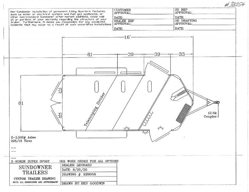 2021 3 HORSE SUNDOWNER BUMPER PULL W/DRESS HORSE TRAILER