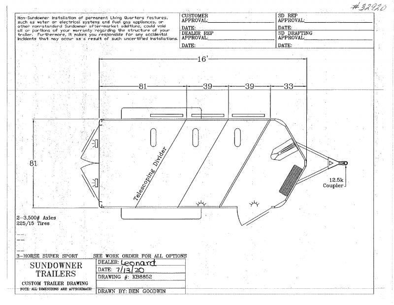 2021 3HORSE SUNDOWNER BUMPER PULL HORSE TRAILER