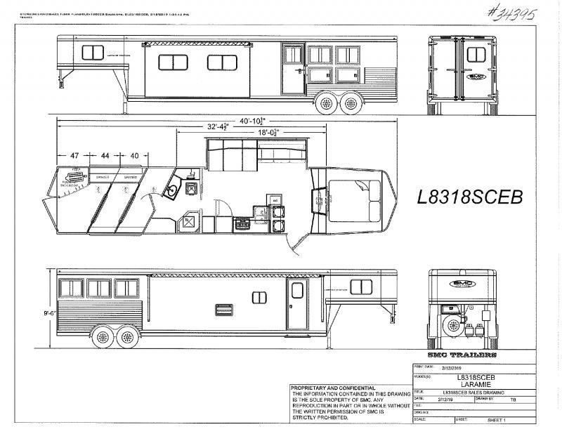 2022  3 HORSE  SMC GOOSENECK W/LIVING QUARTERS  HORSE TRAILER