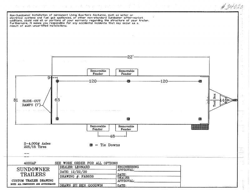2022  22'  SUNDOWNER BUMPER PULL UTILITY TRAILER