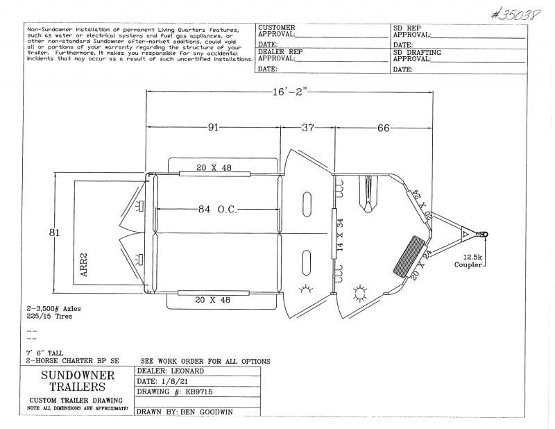 2021 2 HORSE SUNDOWNER BUMPER PULL W/DRESS HORSE TRAILER