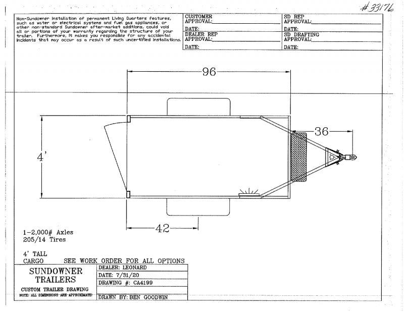 2021  4X8  SUNDOWNER BUMPER PULL ENCLOSED CARGO TRAILER
