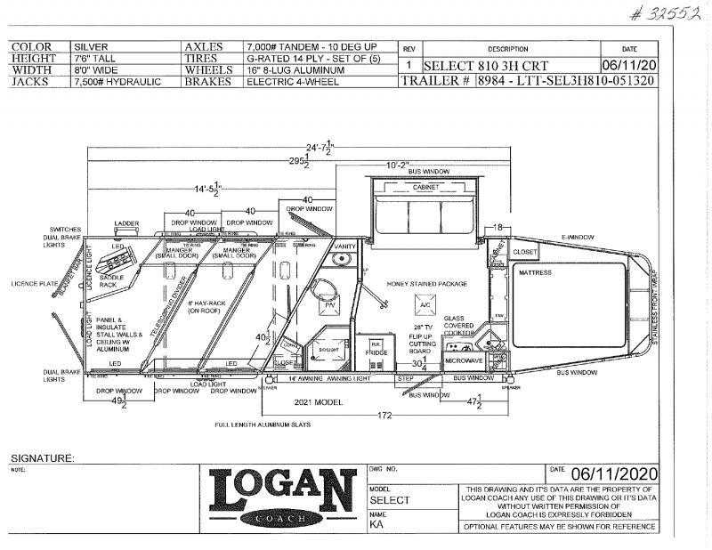 2020 3 HORSE LOGAN COACH GOOSENECK W/LIVING QUARTERS HORSE TRAILER