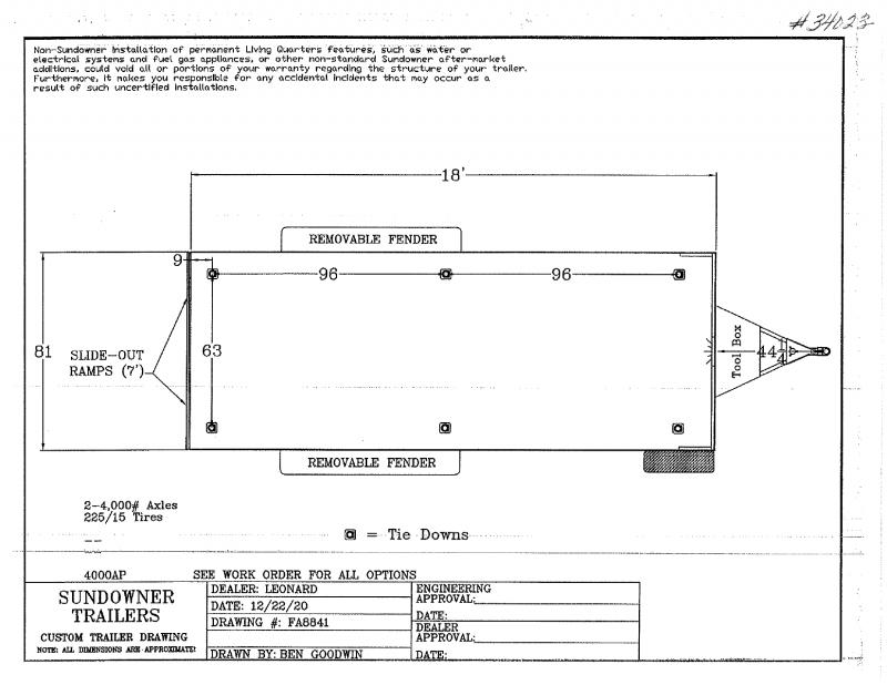 2022 18' SUNDOWNER BUMPER  PULL OPEN UTILITY TRAILER