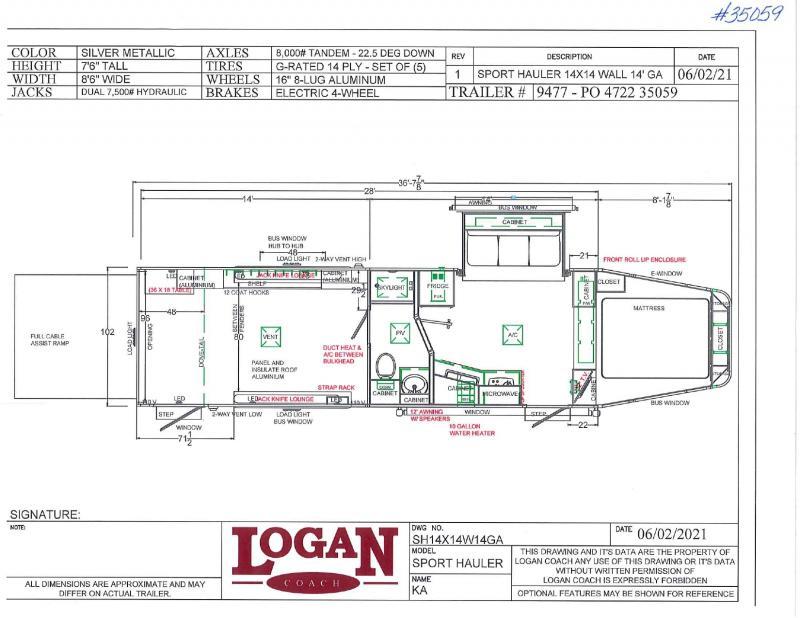 2021 LOGAN COACH 8.5'X36' GOOSENECK LIVING QUARTERS TOY HAULER WITH 14' GARAGE