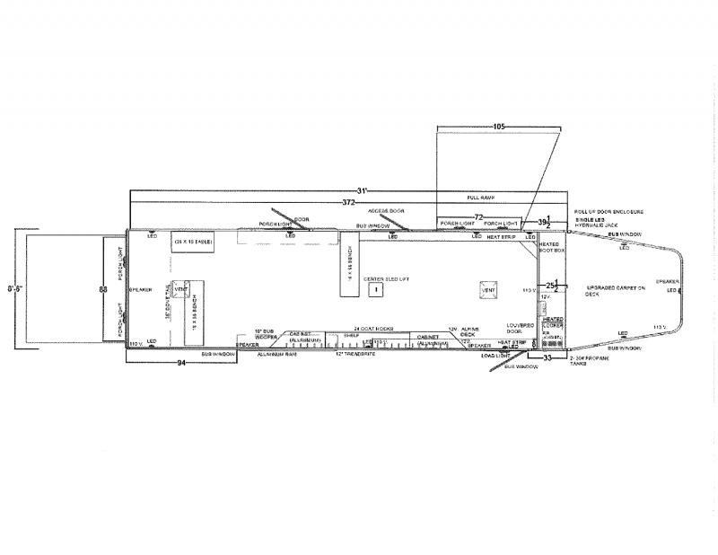 2021 LOGAN COACH 8.5'X31' GOOSE NECK SNOWMOBILE ATV TRAILER.