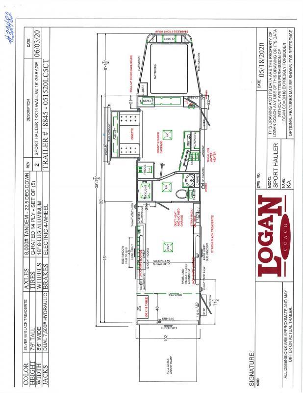 2020 LOGAN COACH 8.5'X38' GOOSENECK LIVING QUARTERS TOY HAULER WITH 16' GARAGE