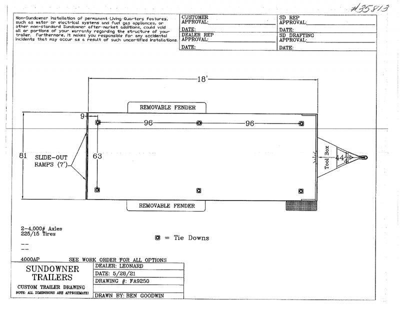 2021 18' SUNDOWNER BUMPER  PULL OPEN UTILITY TRAILER