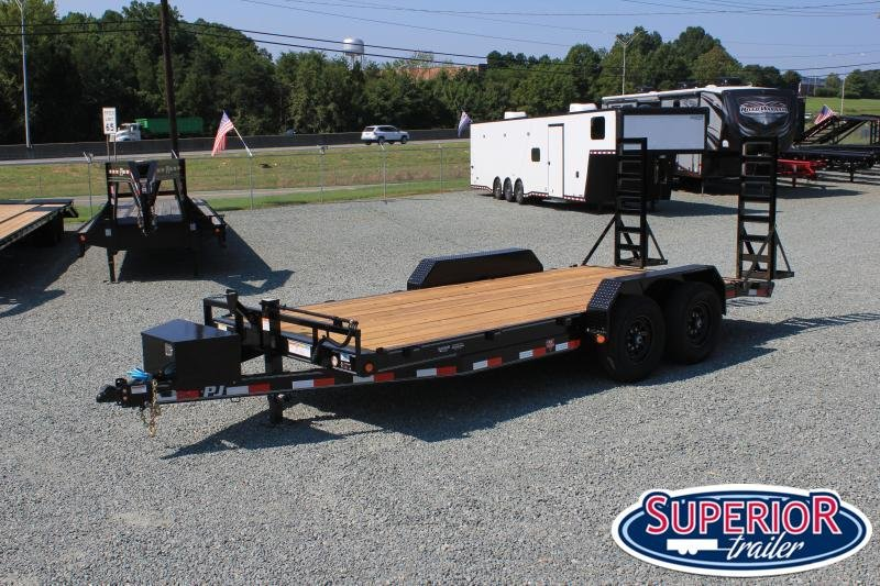 2022 PJ Trailers 18' CC 14K  w/ Tongue Box and Fold Up Ramps