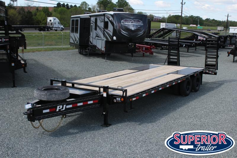 2021 PJ Low Pro 26ft PL Pintle Flatbed  w/ Flip-over Ramps