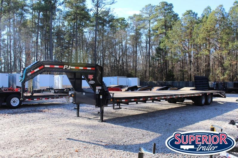 2020 PJ 40ft Low Pro Gooseneck w/ 10K Axles and Monster Ramps