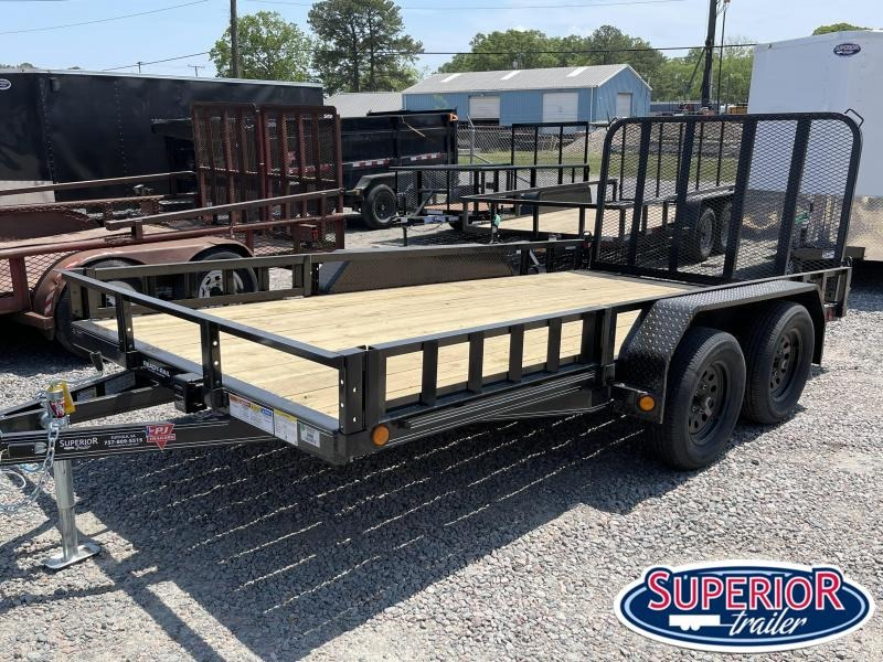 2021 PJ Trailers 14ft UL 7K Utility Trailer w/ Fold Up Gate & ATV Ramps