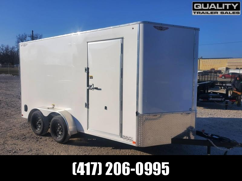 2021 H and H Trailer 7X14 TANDEM FLAT TOP HH VNOSE 7K CARGO with 7' Wall Height
