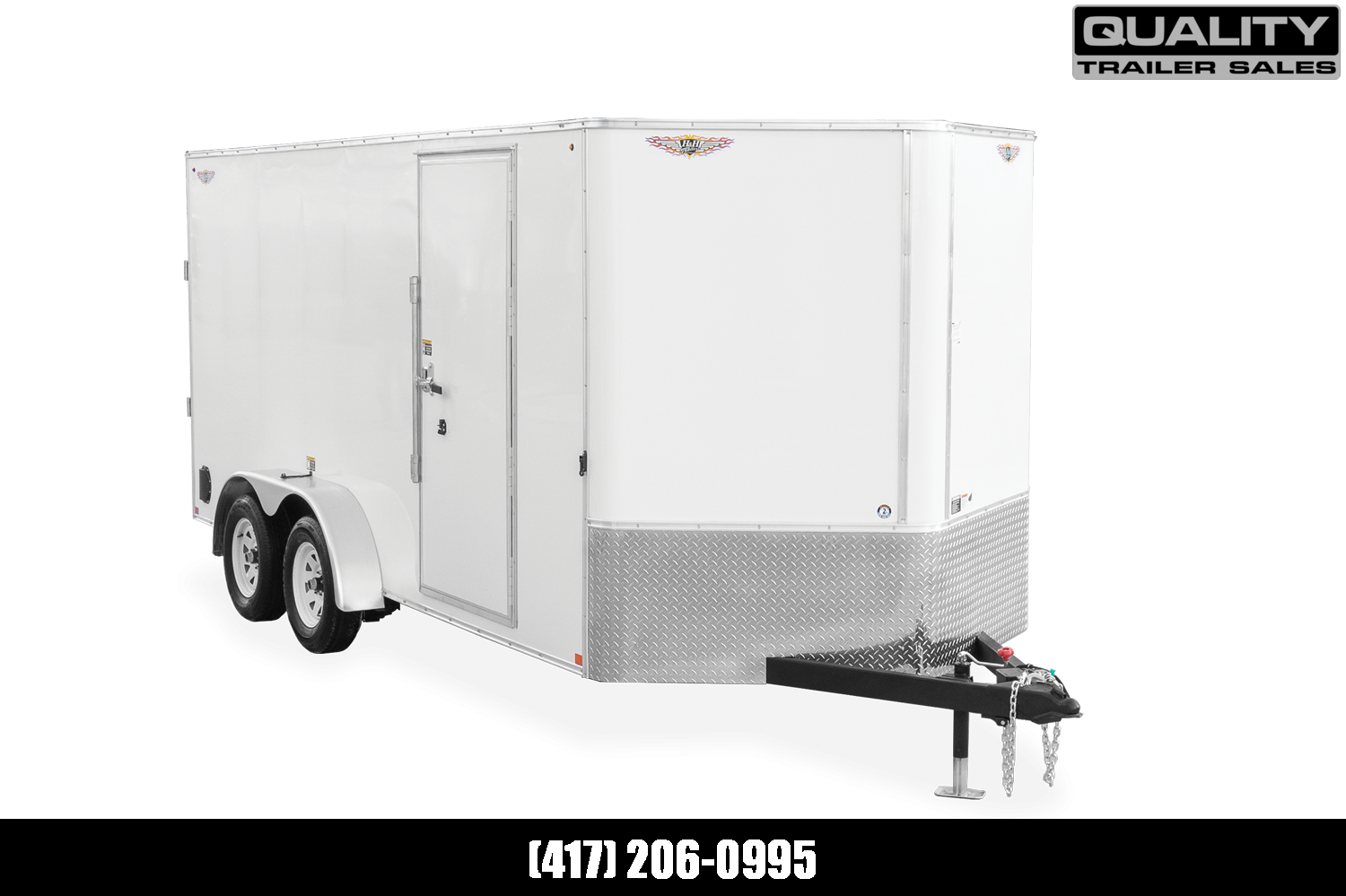 2021 H and H Trailer 7x16 HH Series Flat Top V-Nose Enclosed 10K