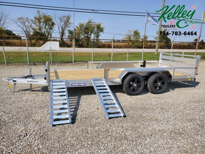 2021 Sure-Trac 7x16 7K Tube Top Aluminum ATV Trailer