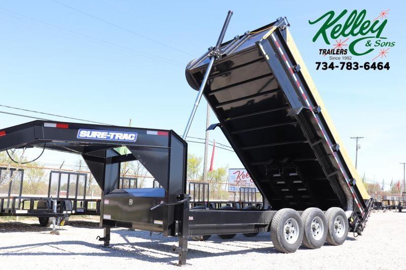 2021 Sure-Trac 82INx16 21K Low Pro Telescopic Gooseneck Dump Trailer