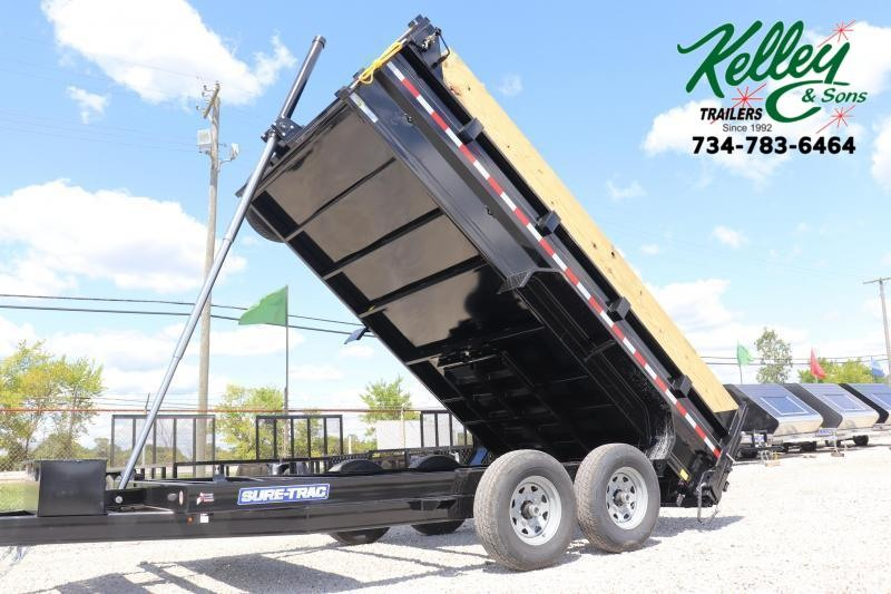 "2021 Sure-Trac 82""x14' 14K Low Pro Telescopic PRO Dump Trailer"