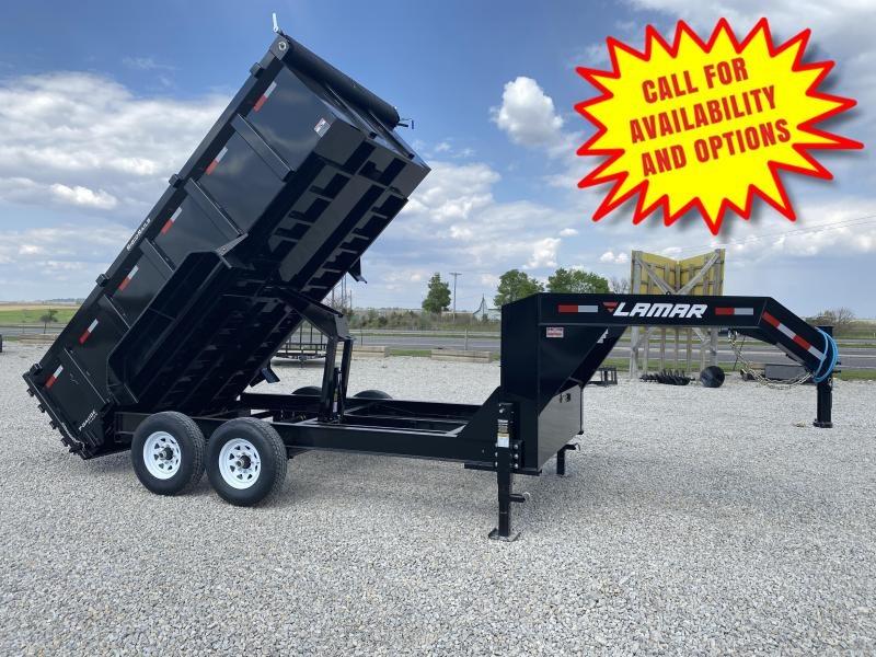 New Lamar 14' Gooseneck Dump W / 3' Sides 14000#