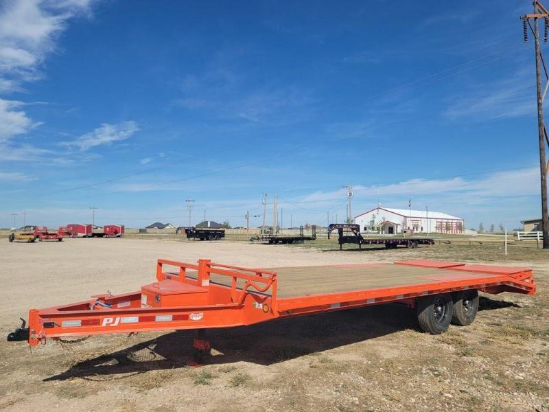 2022 PJ Trailers 102x22' Flat Bed 4' Dove Tail Monster Ramps (F8)