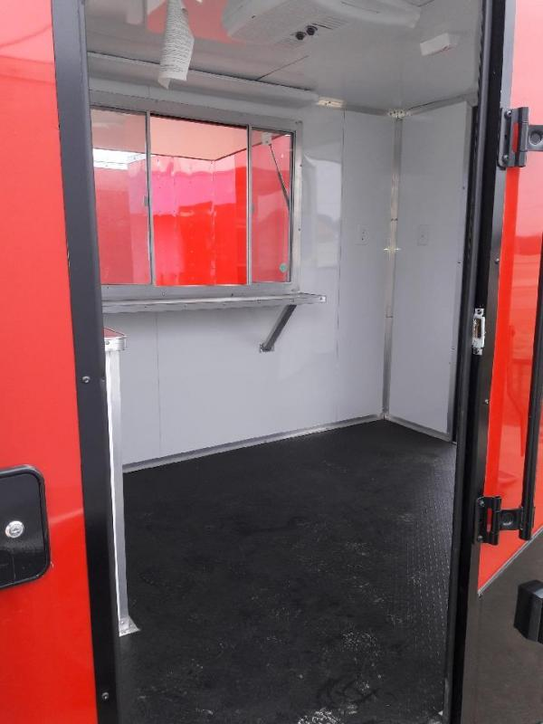 Red/ Black 7x16 Concession BBQ Smoker Trailer