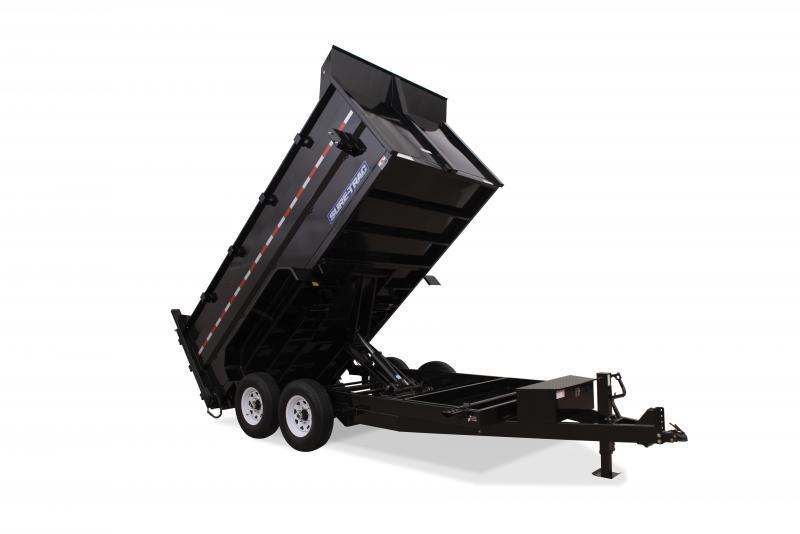 Sure-Trac 7X16 SCISSOR LIFT 4'SIDES 14K Dump Trailer