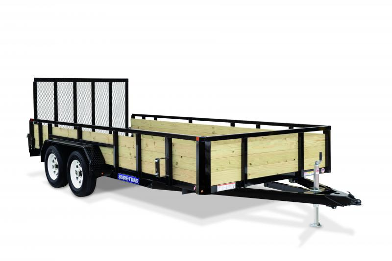 2020 Sure-Trac 7 x 16 TA 3 BOARD HIGH SIDES Utility Trailer