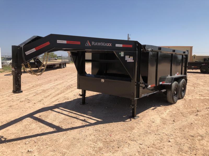 2021 RawMaxx 12' 14K Gooseneck Dump Trailer w/ 4' Sides