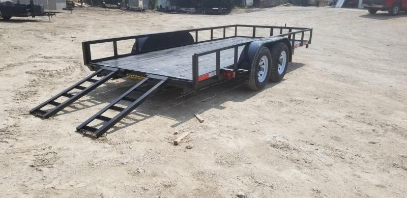 2020 M.E.B 6.4x16 Angle Iron Utility Trailer w/Slide Out Ramps and Brake 7k