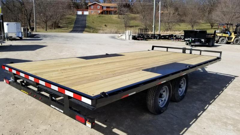 2021 Sure-Trac 8.5x18 Deckover Flatbed Trailer w/Slide Out Ramps 10k