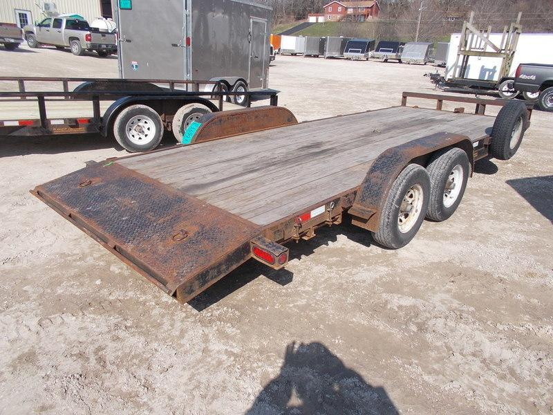 FOR RENT ONLY #13 7x18 M.E.B Open Car Hauler w/Slide Out Ramps