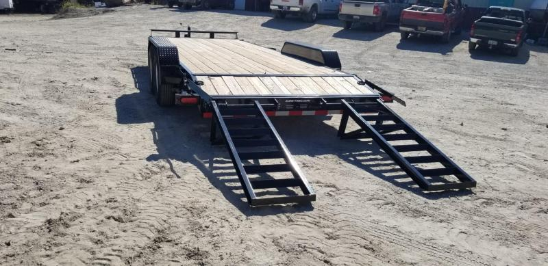 2021 Sure-Trac 7x20 Wood Deck Equipment Trailer w/Stand Up Ramps 14k